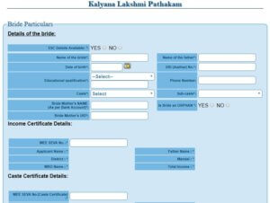 kalyana lakshmi scheme Application Form