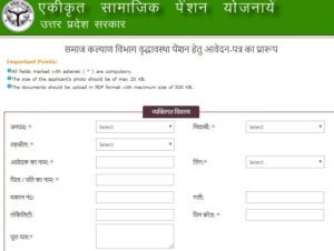 UP Vridhavastha Pension Form
