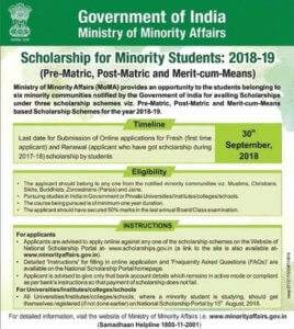 Minority Scholarship Application form 2018